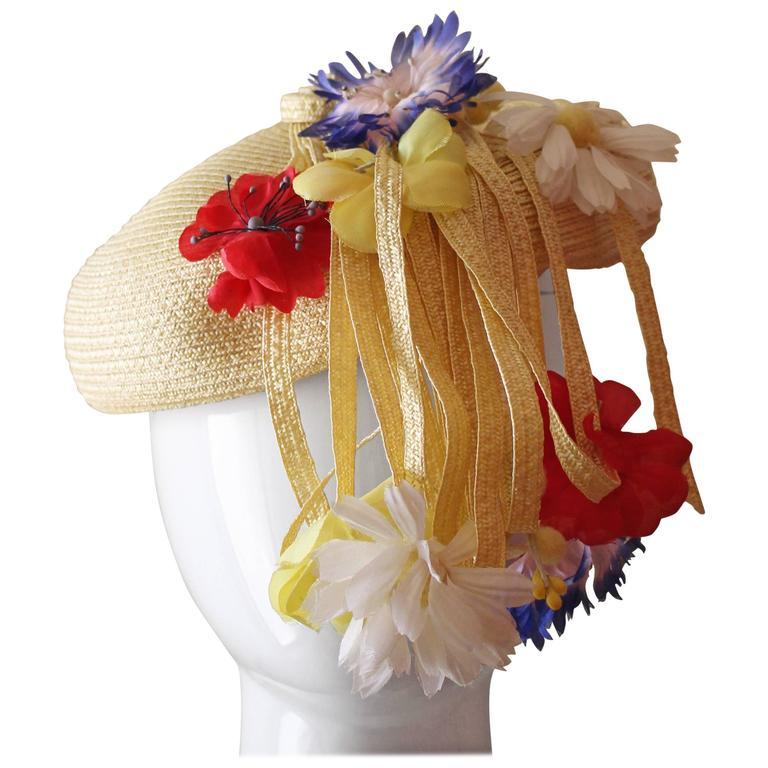 Vintage Yves Saint Laurent Floral Beret/ hat