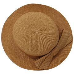 Vintage Emillio Pucci Woven Straw Tan Hat with Bow