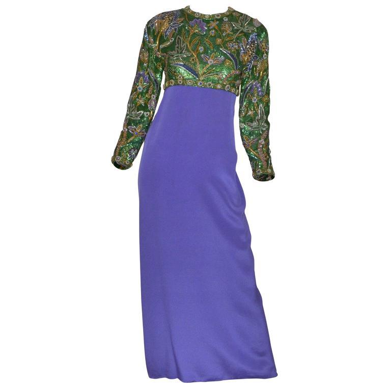 Oscar de la Renta Purple Embellished Open Back Gown 1