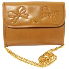 Vintage Nina Ricci tanned brown leather mini clutch shoulder bag with gold chain