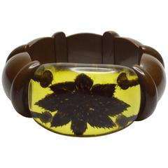 1930's ART DECO Reverse Carved and Painted Bakelite Stretch PANSY bracelet