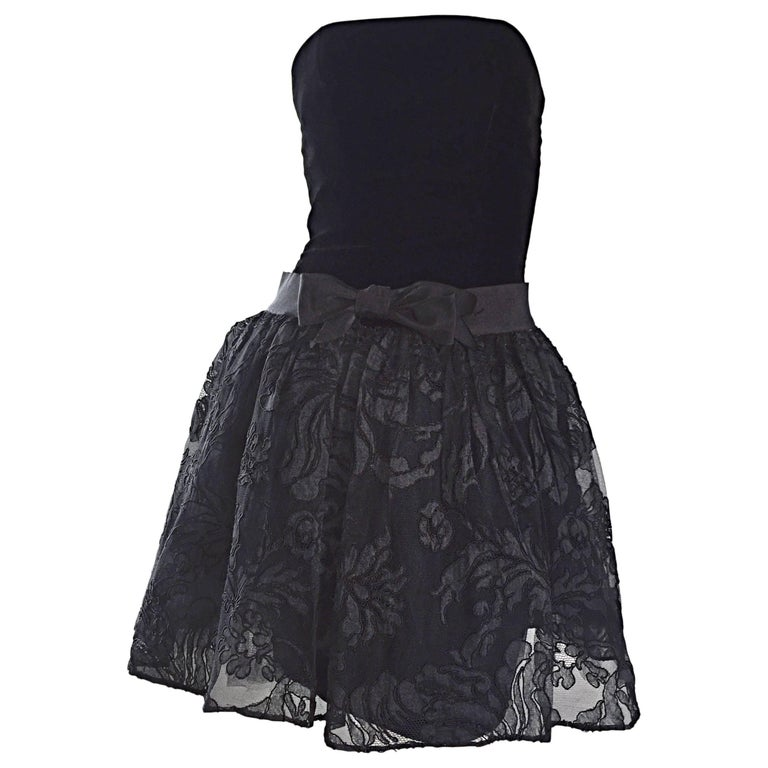Vintage James Purcell Size 2 1990s Couture Black Silk Lace 90s Strapless Dress For Sale