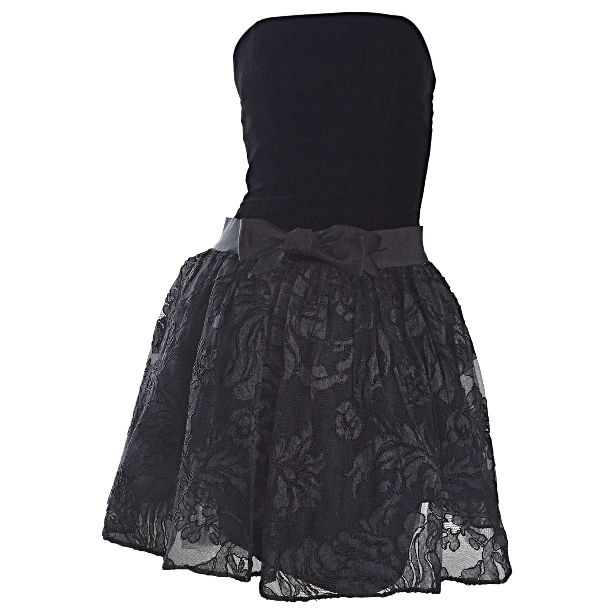 Vintage James Purcell Size 2 1990s Couture Black Silk Lace 90s Strapless Dress
