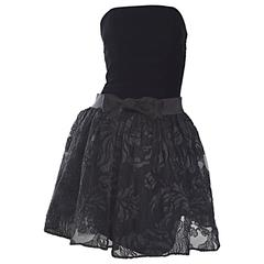 Incredible Vintage James Purcell Couture Black Silk Lace Strapless Dress Sz 2