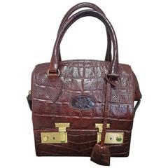 MINT. Vintage Mulberry croc embossed leather birkin doctor's bag style shoulder