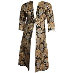 SUZY PERETTE Gold & Silver Lame Floral Print Coat with