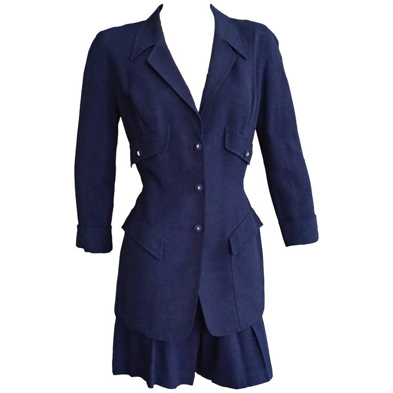 THIERRY MUGLER Navy Linen Fitted Jacket & Short Ensemble