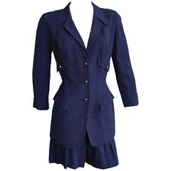 THIERRY MUGLER Navy Linen Fitted Jacket & Short Ensemble