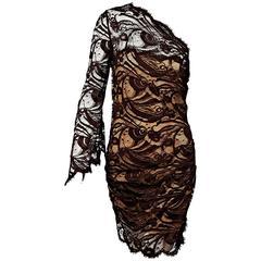 Brown Emilio Pucci One-Shoulder Lace Dress