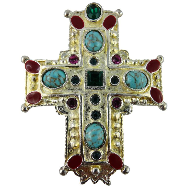 Christian Lacroix Vintage Rare Massive Jewelled Cross Brooch Pendant 1