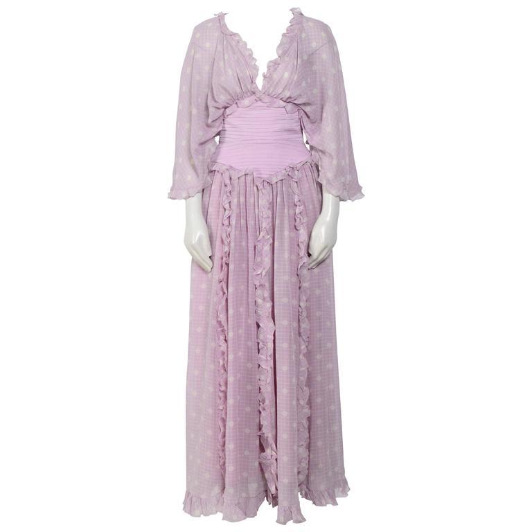 70's Silk Carisma by VALENTINO Boho Dress For Sale