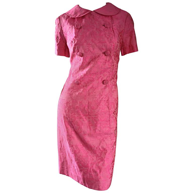 a2d68bceed0de 1960s Dynasty Pink Jackie - O Style Asian Inspired Vintage 60s Silk Dress  For Sale