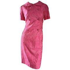 1960s Dynasty Pink Jackie - O Style Asian Inspired Vintage 60s Silk Dress