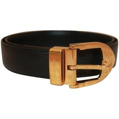 Louis Vuitton Dark Brown Epi-Leather Belt w/ Gold Rounded Buckle