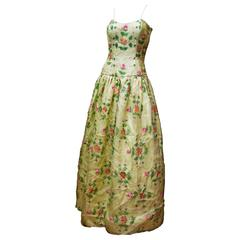 1960s Max Nugus Couture Light Green Hand Painted Gown