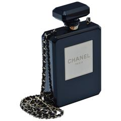 CHANEL Limited Edition Black Handbag Clutch Runway  Perfume Bottle Clutch   Mint