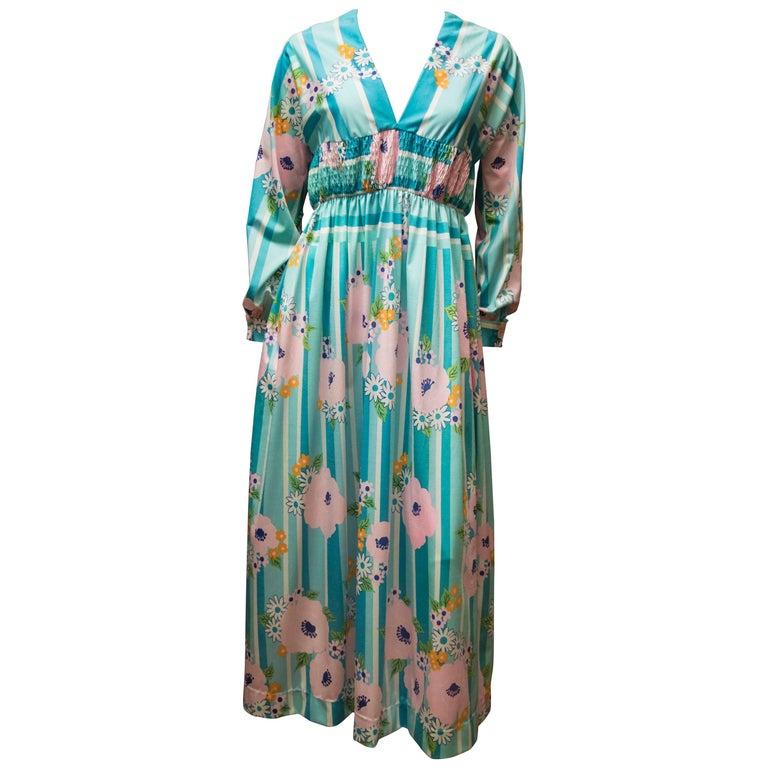 1970s Oscar De La Renta Floral Day Dress For Sale