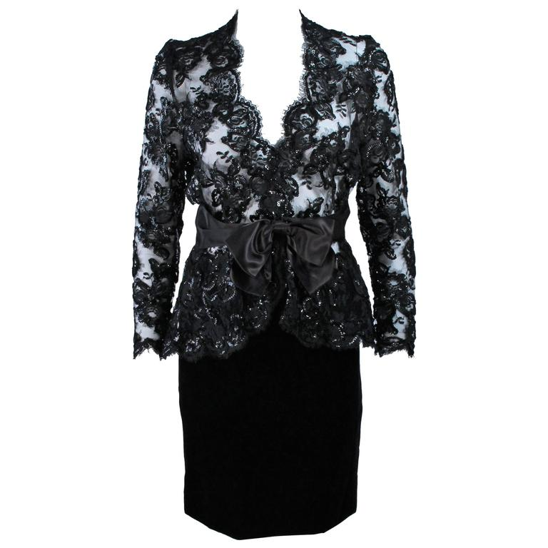 TRAVILLA Black Sequin Lace Skirt Suit with Satin Bow Belt Size 2-4