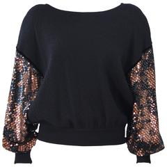 VALENTINO Black Wool Dolman Style Sweater with Sequin Sheer Sleeves Size 6