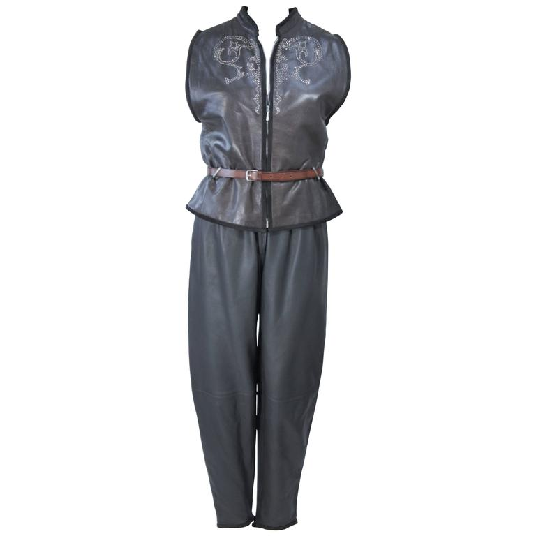 GIANNI VERSACE Leather Vest and Trouser Ensemble with Metal Studs Size 2-4
