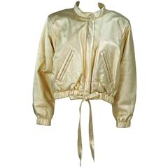 YVES SAINT LAURENT Gold Metallic Leather Bomber Style Jacket Size 6