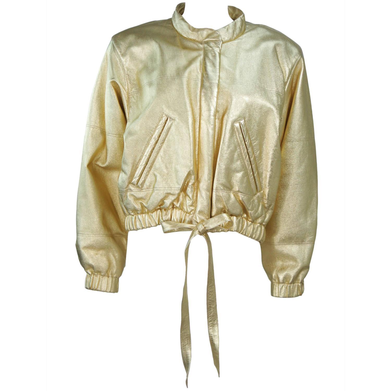 a872ac543 YVES SAINT LAURENT Gold Metallic Leather Bomber Style Jacket Size 6