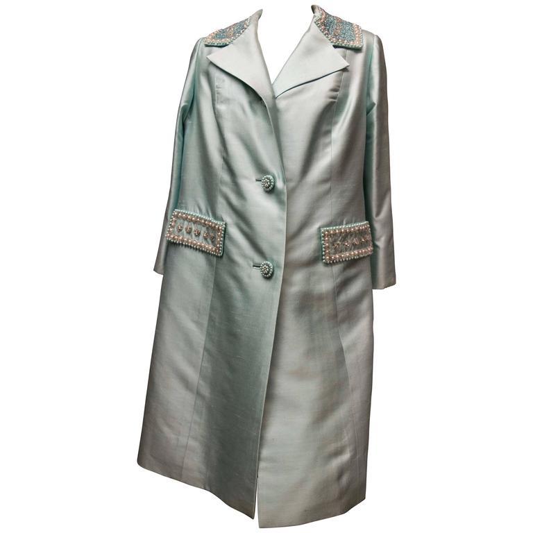 1960s Light Blue Silk Coat