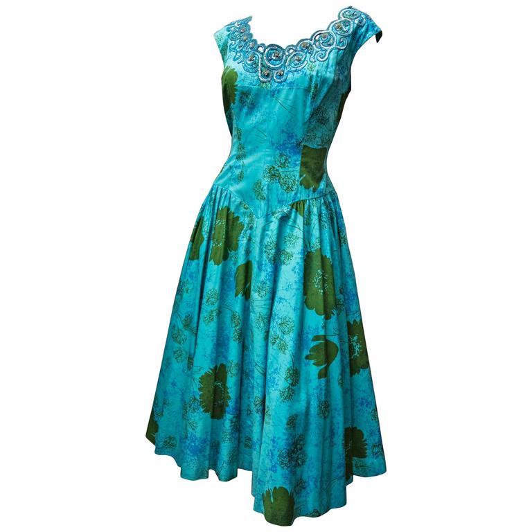 1950s Blue Sun Dress 1