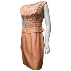 1950s Salmon Pink Beaded Cocktail Dress