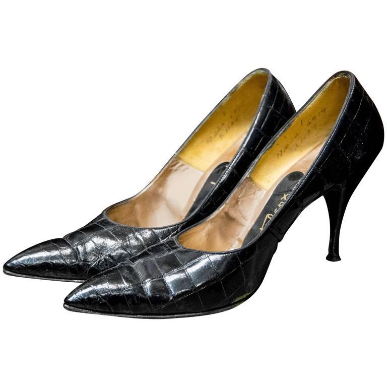 1950s Falenti Black Alligator High Heels  For Sale