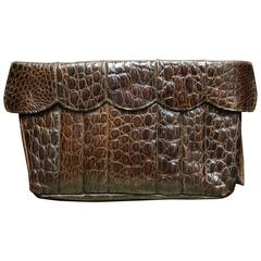 1940s Brown Alligator Clutch