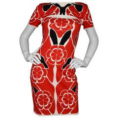 Alexander McQueen NEW Red & Black Floral Print Dress sz 42