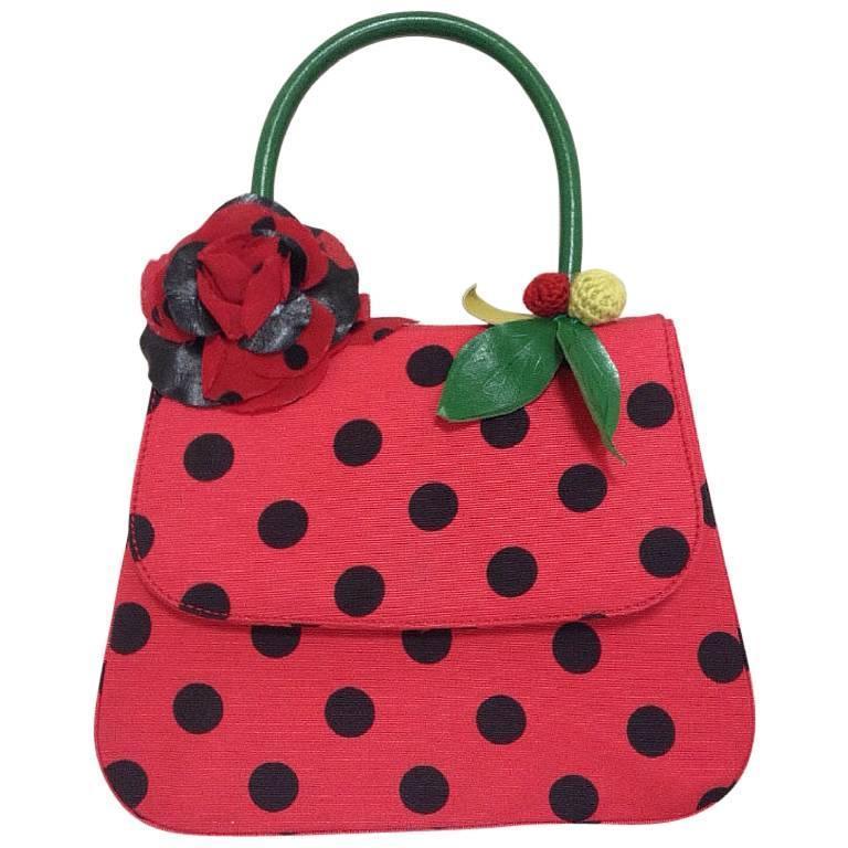 MINT Condition. Vintage MOSCHINO red and black canvas polkadot kelly handbag 1