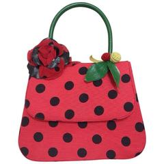 MINT Condition. Vintage MOSCHINO red and black canvas polkadot kelly handbag