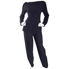 1990s Geoffrey Beene Black Crepe Avant Garde Jacket and Pants Suit Ensemble