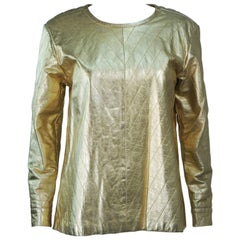 YVES SAINT LAURENT Gold Metallic Quilted Leather Top Size 38