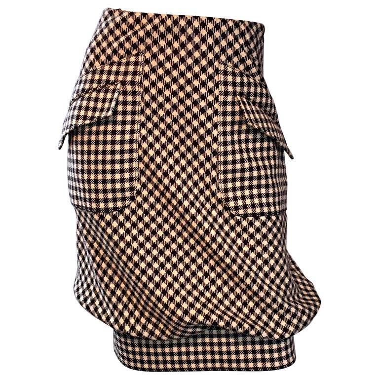 Valentino Brown + Ivory Gingham Wool Bubble Hem Avant Garde Skirt w/ Pockets
