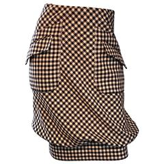 Valentino Brown + Ivory Gingham Wool Bubble Hem Avant Garde Skirt w/ Pockets