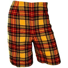 1960s High Waisted Yellow + Red Tartan Plaid Vintage 60s Wool Shorts