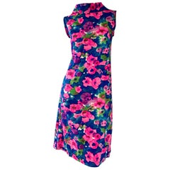 Chic Vintage 1960s Floral Watercolor Print A - Line 60s Colorful Dress