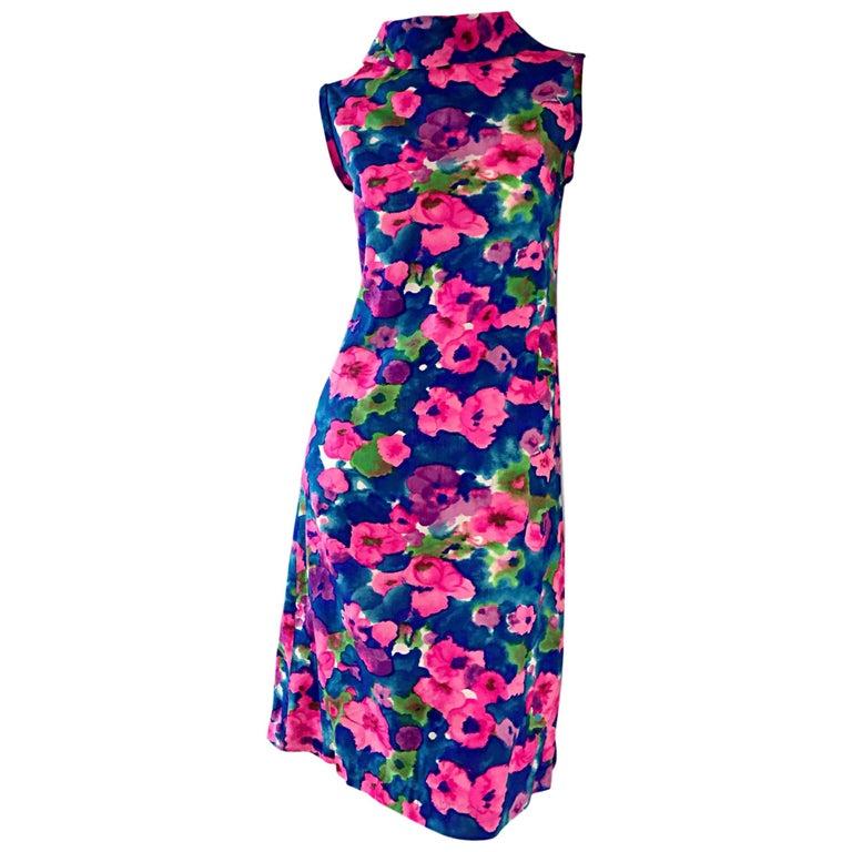 Chic Vintage 1960s Floral Watercolor Print A - Line 60s Colorful Dress  For Sale