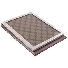 GUCCI Italian Tan Lucite GG MONOGRAM DESK NOTEPAD Notebook Holder