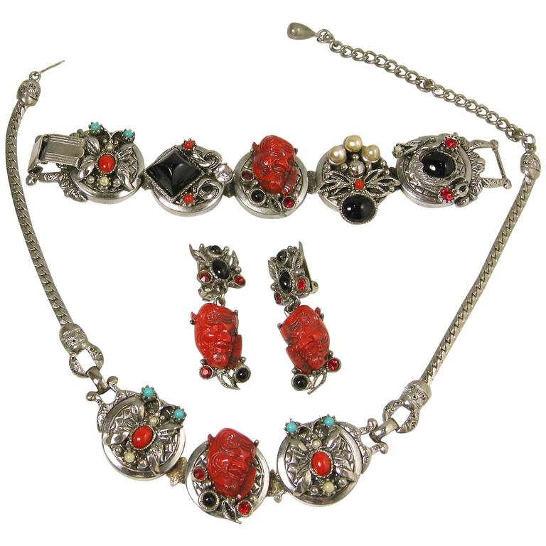 Famous Vintage Selro Red Devil Necklace, Earrings And Bracelet Set For Sale