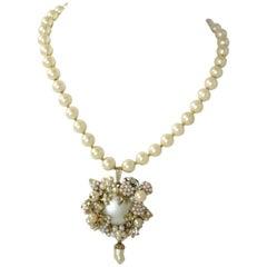 Miriam Haskell Vintage Cream Faux Pearl Pendant Necklace