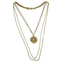 Vintage Signed Goldette Pendant Locket Necklace
