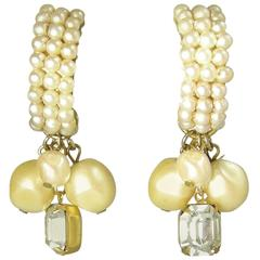 Vintage DeMario Shrimp Shaped Seed Pearl Drop Earrings