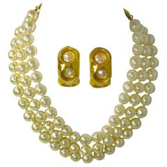 Vintage Robert Lee Morris Pearl Necklace & Earrings