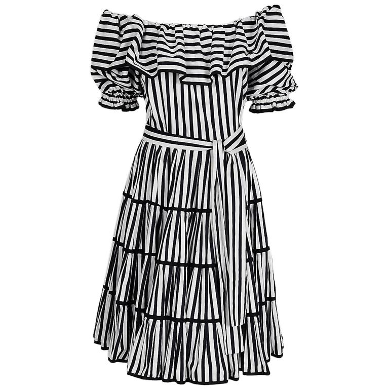 1970's Yves Saint Laurent Black & White Stripe Cotton Off-Shoulder Belted Dress