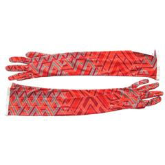Hermes Long Silk Gloves Carre Cube Orange Red Grey Size M NWT