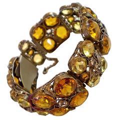 HOBE Filigreed Faux Amber Topaz Link Bracelet